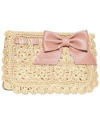 RED Valentino Crochet Raffia and Leather Clutch beige - Lyst