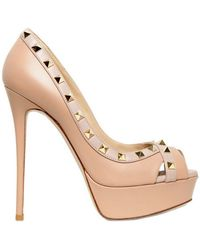 Valentino 140mm Rock Stud Calfskin Open Toe Pumps - Lyst
