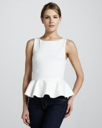 Alice + Olivia Alice Olivia Sleeveless Ponte Peplum Top Cream - Lyst