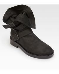 Ann Demeulemeester Fold-Over Leather Buckle Boots - Lyst