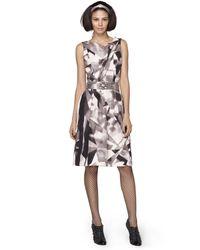 Oscar de la Renta Jewel Print Silk Faille Sleeveless Dress - Lyst
