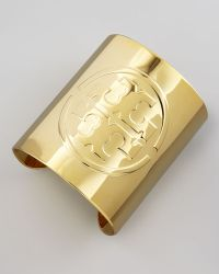 Tory Burch Embossed Golden Logo Cuff - Lyst