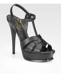 Saint Laurent T-strap Lizard Embossed Leather Sandals - Lyst