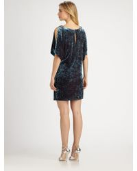 Aidan Mattox Velvet Split Sleeve Dress - Lyst