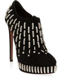 Alaïa Silver Embellished Ankle Boot - Lyst