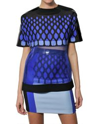 David Koma Patent Leather Trim On Silk Organza Top blue - Lyst