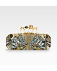 Alexander McQueen Dragonfly Embroidered Jacquard Knuckle Clutch - Lyst
