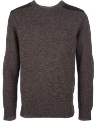 A.P.C. Leather Shoulder Knit Sweater - Lyst