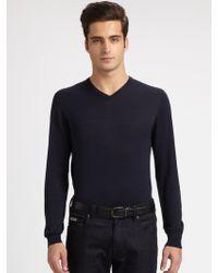 Armani Silk/Cotton V-Neck Shirt - Lyst