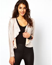ASOS Collection Asos Jacket in Textured Metallic with Waterfall Front - Lyst