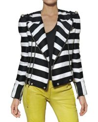 Balmain Cotton and Linen Biker Jacket - Lyst