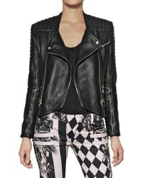 Balmain Nappa Leather Biker Jacket - Lyst