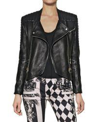 Balmain Nappa Leather Biker Jacket - Lyst