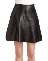 Cynthia Rowley | Leather Seamed Skirt | Lyst