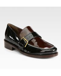 Marni Bicolor Patent Leather Loafers - Lyst