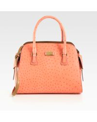 Michael Kors Gia Ostrich Stamped Leather Satchel - Lyst
