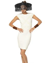 Alexander McQueen Honeycomb and Bee 3D Jacquard Knit Dress white - Lyst