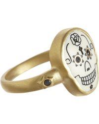 Me&Ro - Scrimshaw Skull Ring with Diamonds - Lyst