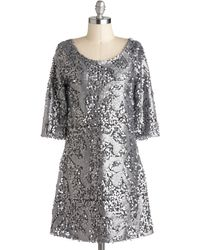 ModCloth Silver Lighting The Night Dress - Lyst