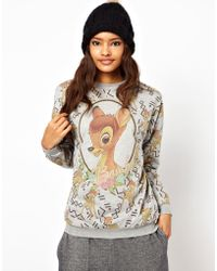 ASOS Collection Asos Sweatshirt with Bambi Print gray - Lyst