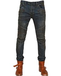 Balmain  Lightly Waxed Stretch Denim Jeans - Lyst