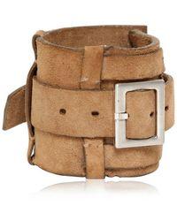 Balmain - Buckle Crust Leather Bracelet - Lyst