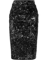 Donna Karan New York Draped Sequined Jersey Pencil Skirt - Lyst