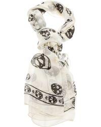 Alexander McQueen Skull-Print Chiffon Scarf white - Lyst