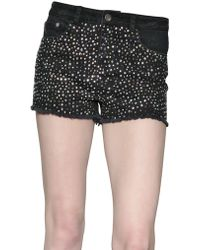 American Retro - Multi Coloured Swarovski Denim Shorts - Lyst