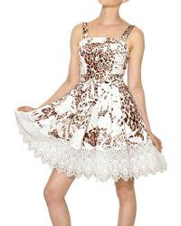 Blumarine Cotton Lace Printed Cotton Canvas Dress white - Lyst