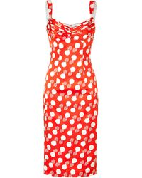 L'Wren Scott Redcream Printed Silk Dress - Lyst