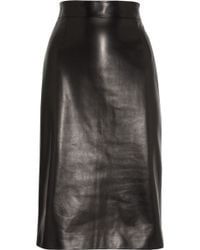 Alexander McQueen Leather Pencil Skirt - Lyst