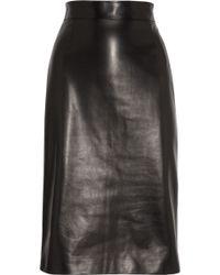 Alexander McQueen Leather Pencil Skirt black - Lyst