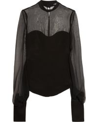 Alexander McQueen Silk and Chiffon Top - Lyst