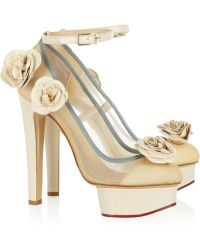 Charlotte Olympia Flora Leather And Mesh Pumps white - Lyst