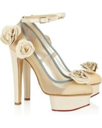 Charlotte Olympia Flora Leather and Mesh Pumps - Lyst