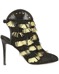Daniele Michetti - 100mm Leather Feathers Open Toe Boots - Lyst