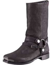 Miu Miu Distressed Leather Harness Boot - Lyst