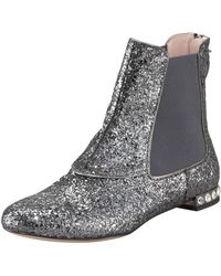 Miu Miu Glitterfinished Leather Chelsea Boots - Lyst