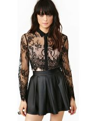 Nasty Gal Lace Blouse - Lyst