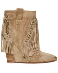 Strategia - 90mm Suede Fringe Wedge Boots - Lyst