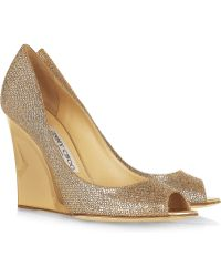 Jimmy Choo Bello Glittered Twill Wedge Pumps - Lyst