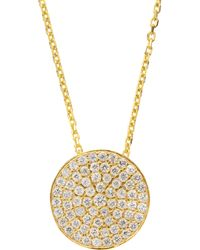Susan Hanover - Sterling Cz Disc Necklace - Lyst