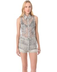Timo Weiland - Fossil Print Blouse - White - Lyst