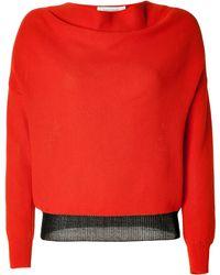 Cedric Charlier Orangemetallic Cotton Knit Pullover - Lyst