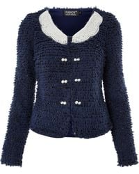 Pussycat - Sparkly Boucle Jacket with Pearl Collar - Lyst