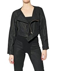 Rick Owens Cropped Smooth Leather Jacket black - Lyst