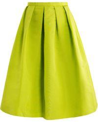 Tibi Neon Pleated Skirt green - Lyst
