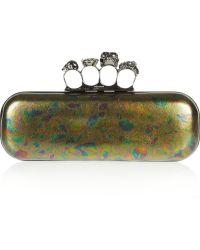 Alexander McQueen Knuckle Swarovski Crystal and Leather Box Clutch - Lyst