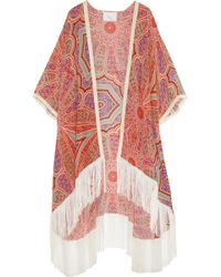 Athena Procopiou - The Princess Of The Sands Fringed Printed Silk Robe - Lyst